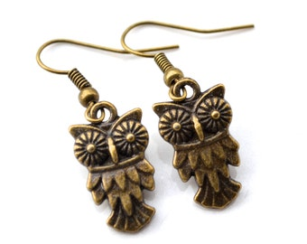 Antiqued Brass Owls . Earrings