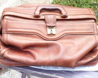 Vintage en cuir sac en cuir bagages - médecin Style sac en cuir - Cuir GLADSTONE - Anique sac à main cuir - ancienne valise en cuir - SPT