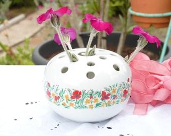 Belle porcelaine Vase fleur grenouille - domaine de dessin fleurs - grenouille Vase fleur porte - Déco maison - Summer trouve - Cottage Chic