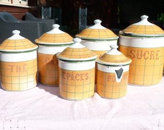 Vintage Français Enamelware bidon ensemble 6 pièces émail jaune ustensiles de cuisine - chalet Français ferme - décor rustique