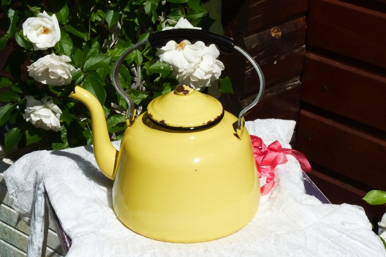 Large Vintage Yellow Enamel Teapot  Vintage French Enamelware image 0