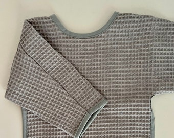 Long sleeve bib -WAFFLE FABRIC- small size only - very absorbent bibs