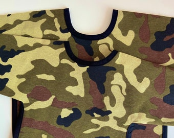 MILITARY PRINT - long sleeve bib - can be ordered with name, pouch and in 2 different sizes