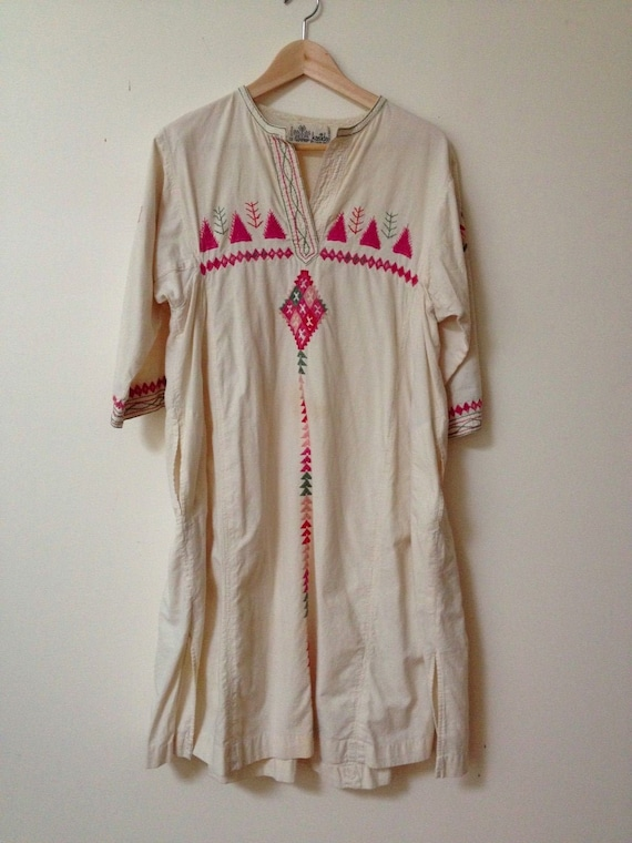 KASIDA Vintage Cotton Caftan Kurta Boho Dress Size