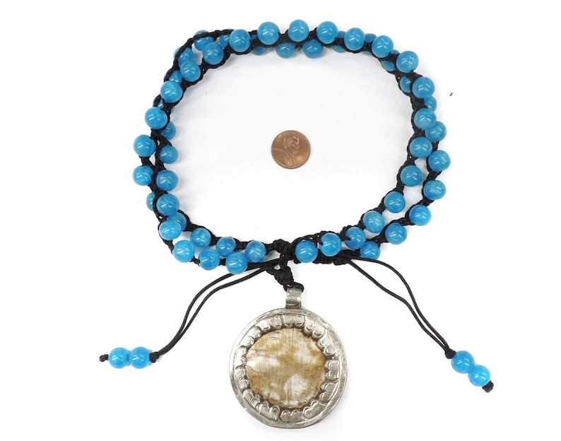 Tibetan Necklace Shell Repoussee Pendant 126014