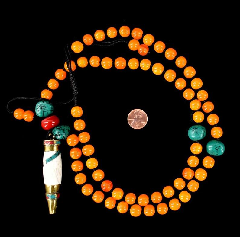 Tibetan Necklace Chank Repoussee Pendant Adjustable 133911