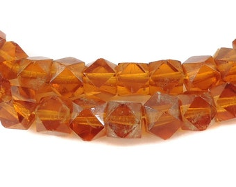 Translucent Faceted Beads Amber Color Africa 119755