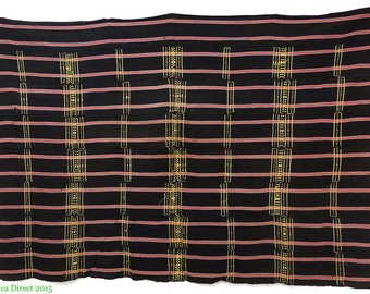 Handwoven Textile Cotton Black Striped Ghana Africa 112769