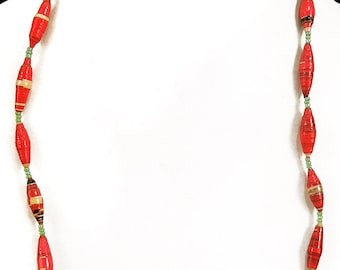 Paper Beads Necklace Uganda Red and Beige African 84395