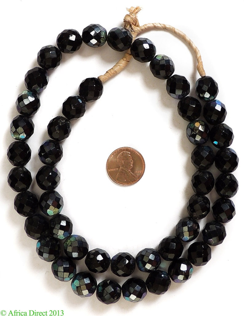 Iridescent Fumed Trade Beads Black Faceted African 117371