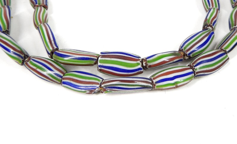 Rainbow Chevron Venetian Trade Beads Striped Melon Africa 127623