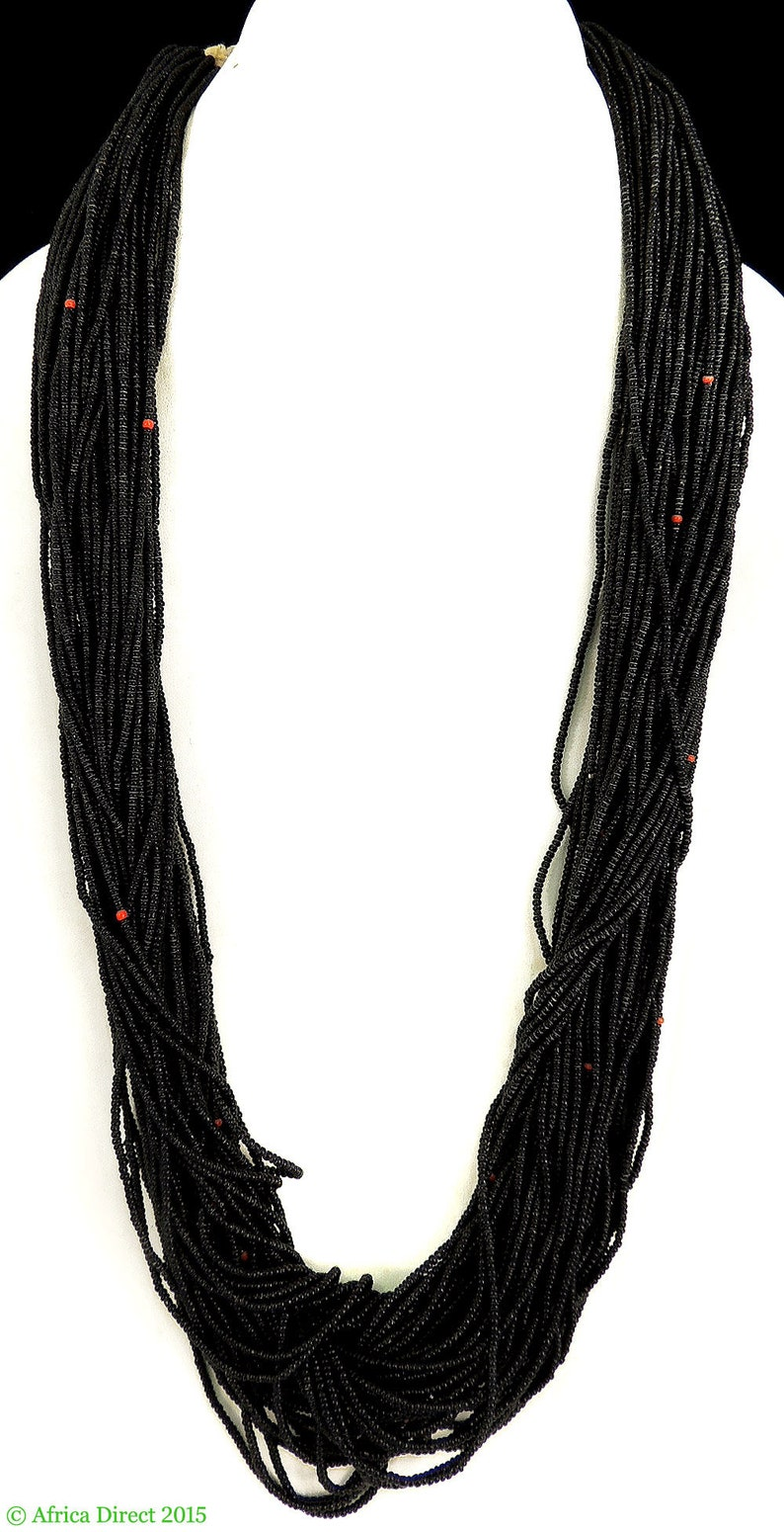 Baule Tamba Necklace 50 Strands Black Seed Beads African 96667