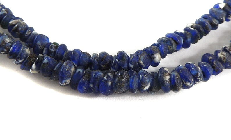 Krobo Imitation Ancient Roman Glass Beads Blue Africa 123183