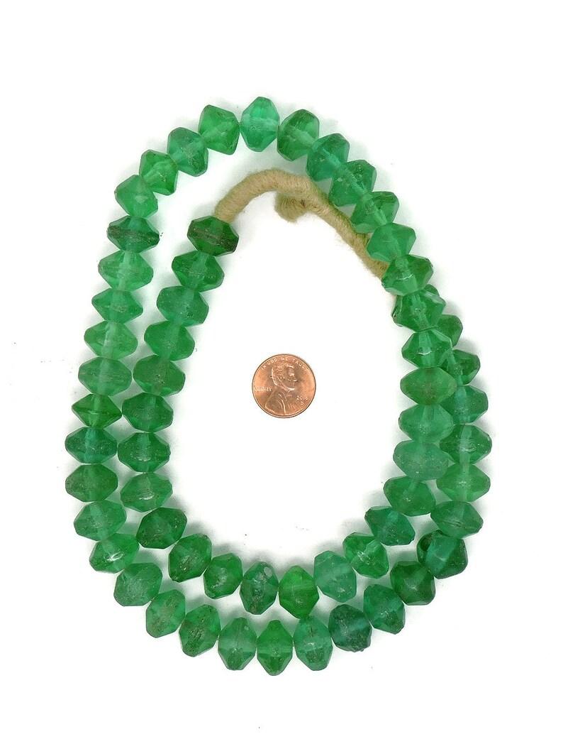 Vaseline Trade Beads Green Bohemian Africa 26 Inch 125107