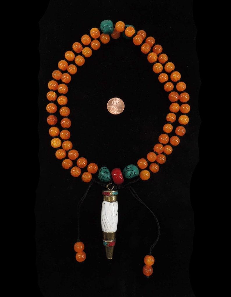 Tibetan Necklace Chank Repoussee Pendant Adjustable 125149