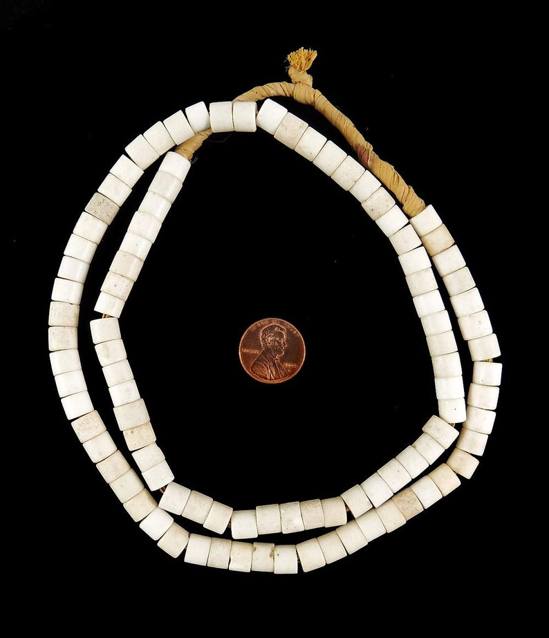 Goomba Porcelain Trade Beads White Old Africa 26 Inches 122283