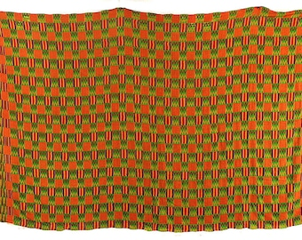 Kente Cloth Handwoven Textile Asante Large Old Green Africa 76710