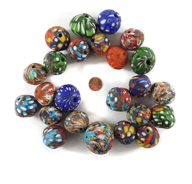 Fancy Krobo Beads Powder Glass Ghana Africa Loose 120736