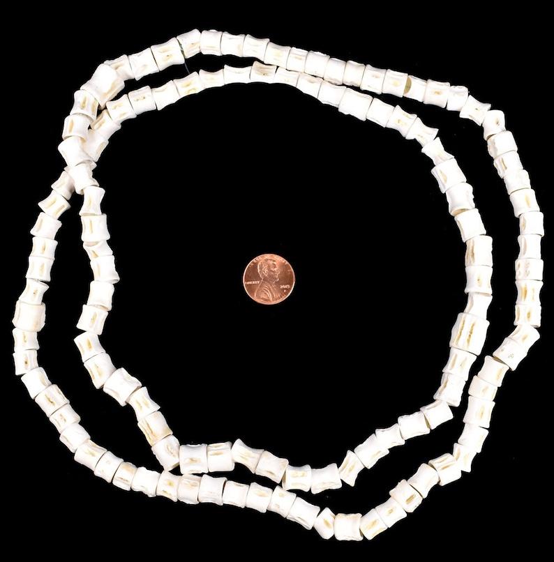 Fish Vertebrae Bone Beads Africa 36 Inches 136202