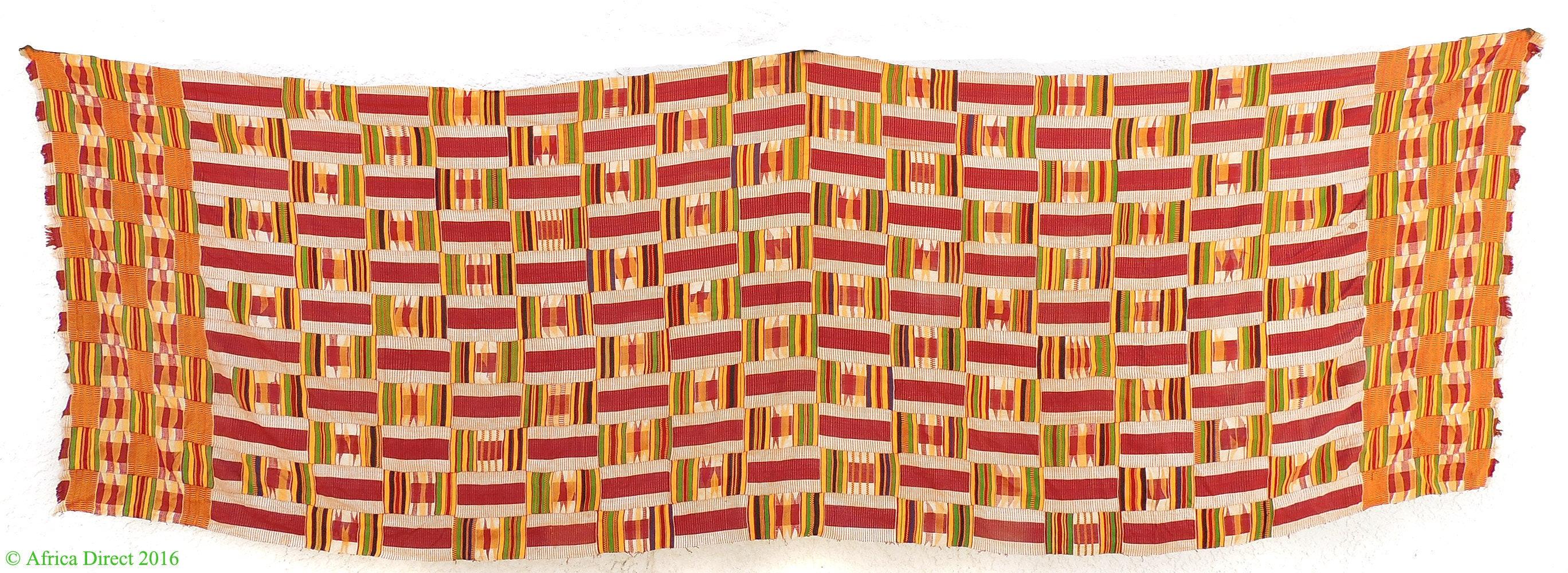 Kente Ashanti de de de tissu tissé à la main marron Art africain Ghana 104374 ea9640
