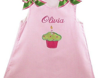 Pink Birthday Dress Green / Pink bows Personalized