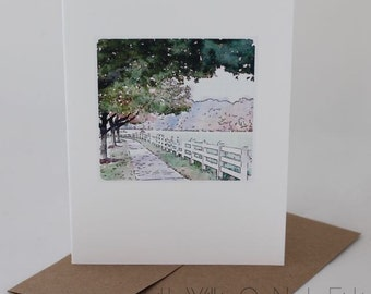 WHITE FARM FENCE image, watercolor image, Fearrington fields, farm photo, Fearrington Village, watercolor cards