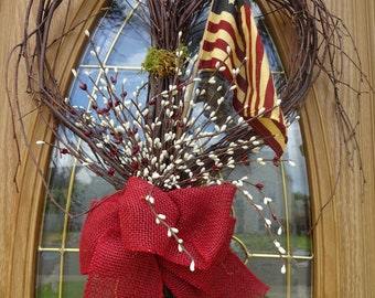 4th Of July Wreath  Heart Wreath Independence Day Wreath  Tea Stained Wreath  Patriotic Wreath  Front Door Wreath Birch Wreath Twig Wreath