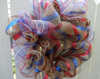 Patriotic Wreath Deco Mesh Wreath  4th Of July Wreath  Independence Day Decor  Wreath  Home Decor  Memorial Day Wreath