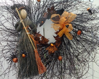 Halloween Wreath  Witch On A Broom  Spider Wreath Spooky Wreath Twig Wreath  Front Door Wreath Autumn Wreath Black Wreath