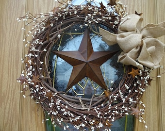 Primitive Wreath  Rusty Star Wreath  Patriotic Wreath  4th Of July Wreath  Independence Day Primitive Decor  Primitive Wreath  Wreath