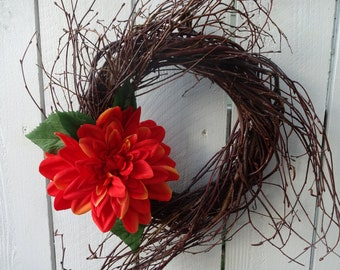 Twig Wreath  Dahlia Wreath  Summer Wreath  Autumn Wreath  Front Door Wreath  Door Decoration   Hostess Gift  Wreath