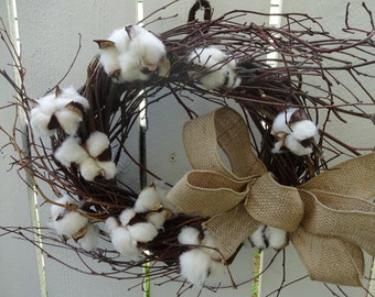 Cotton Wreath  Birch Wreath  Twig Wreath Wreath  Natural Wreath  Home Decor  Door Wreath  Twigs  Hostess Gift  Rustic Decor