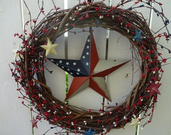 Patriotic Wreath  4th Of July Wreath  Stars And Stripes  Primitive Wreath  Pip Berry Wreath  Independence Day  Primitive Decor