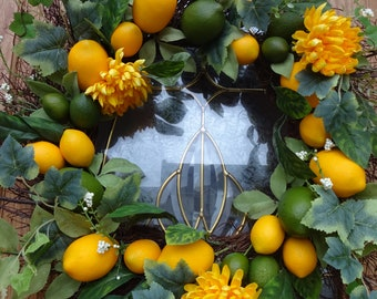 Lemons and Limes  Wreath  Summer Wreath  Home Decor  Spring and Summer Wreath Lemon Wreath Faux Wreath  Door Wreath  Gift