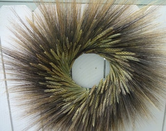 "Autumn Wreath  Fall Wreath  Natural Wreath  Black Beard Wreath  Door Wreath Hostess Gift  Dried Wreath  Large Wreath 24"" Wreath"