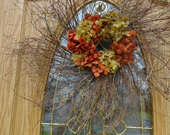 "Twig Wreath  Fall Wreath Autumn Wreath Hydrangea Wreath 24"" Wreath  Natural Wreath  Door Wreath Front Door Wreath Large Wreath"