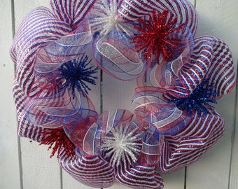 Patriotic Wreath  4th Of JulyWreath   Memorial Day Wreath Deco  Mesh Wreath  Red White and Blue  Wreath  Front Door Wreath  Summer Wreath
