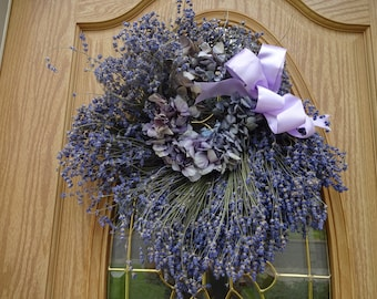 "Lavender Wreath Hydrangea Wreath  Dried Wreath Dried Lavender  18"" Wreath  Fragrant Wreath Indoor Wreath  Natural Wreath Home Decor  Gift"