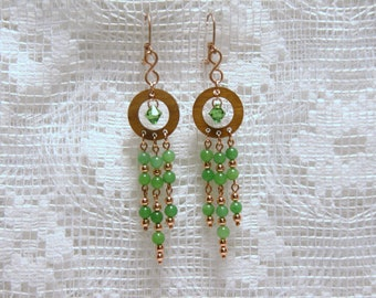 """Green Agate and Swarovski Crystal Wooden Copper Chandelier Earrings--""""Forest Majesty"""""""