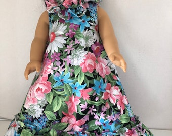 """Pink Blue & White Hawaiian Dress with Train for 18"""" American Girl Doll"""