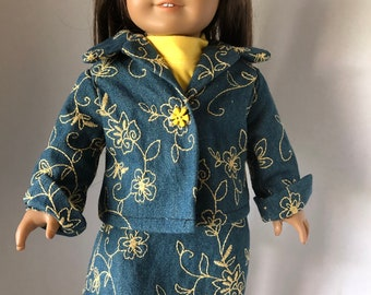 """Jean Jacket Skirt & Yellow T-Shirt for 18"""" American Girl Doll"""