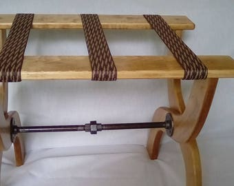 Guest Room Luggage Rack, Maple Hardwood with Steel Bar, Choice of Webbing