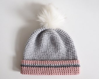 61551c83549 Crochet Hat Pattern - Pompom Beanie Hat Crochet Pattern - Simple Slouch Hat  Crochet Pattern - PDF Download