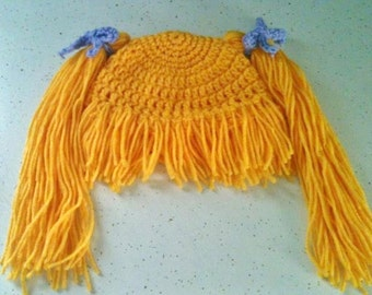 Crochet Hat Pattern Cabbage Patch Wig Costume - Adult to Infant - Photo Tutorial, ONE SKEIN Pattern - p144