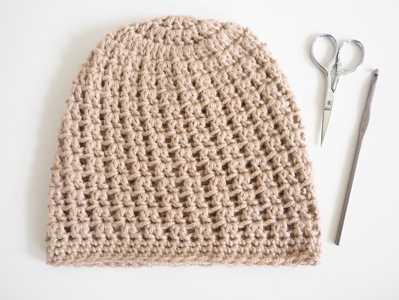 bb8a88896a3 Crochet Hat Pattern Double V Slouch Beanie Crochet Pattern