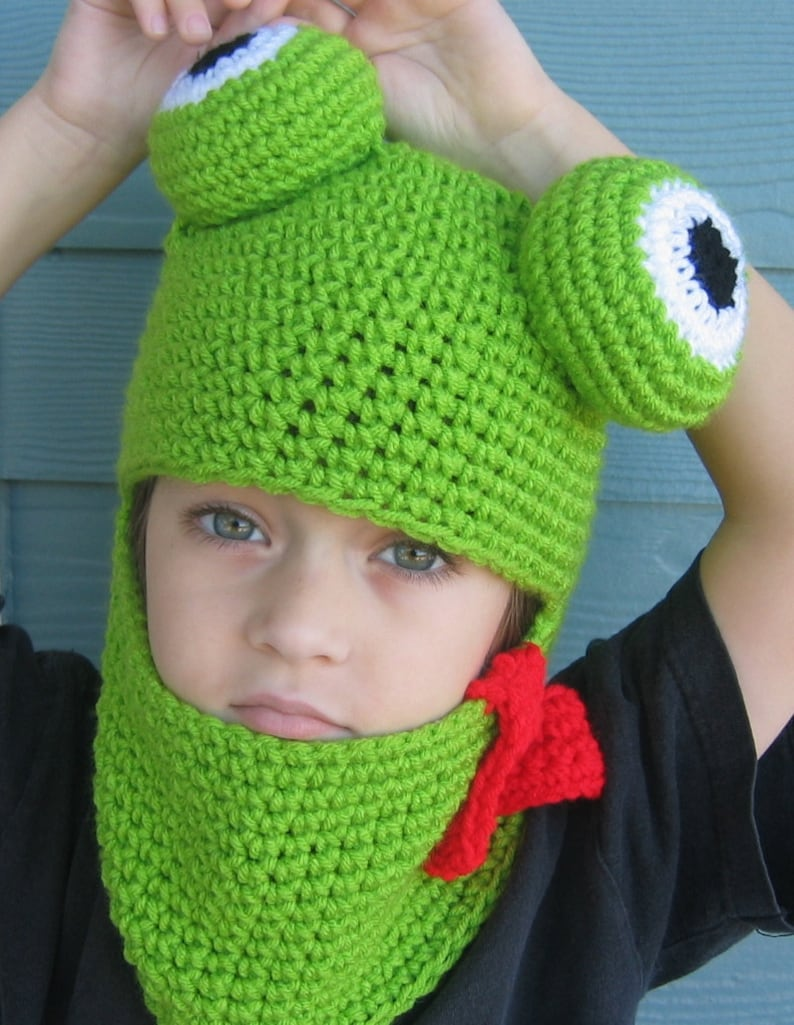 388f4e4edfd Crochet Hat Pattern Frog Hat Hood for Adult Child Boy or Girl