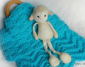 Crochet Pattern - Lovey Shells and Chevrons baby lovey baby blanket crochet pattern - pdf