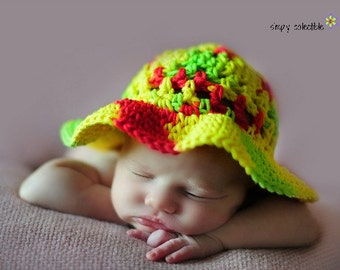 Crochet Hat Pattern - Coraline's Sun Hat crochet pattern - Infant to Adult Sizes - pdf