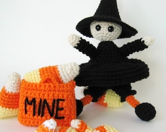 Crochet Pattern toy - Sweetest Lil Witch Amigurumi Crochet Pattern Halloween Witch Amigurumi Doll with Trick or Treat Bag- p124