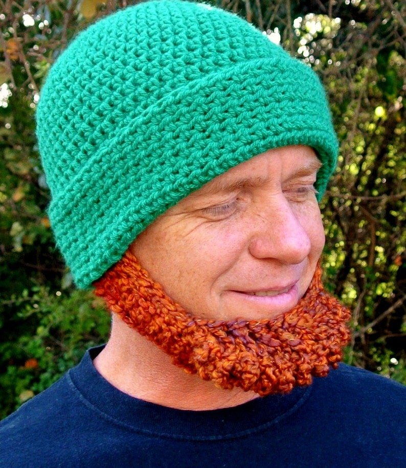 3c645b2b67f Crochet Hat Pattern Irish Beard Beanie REVERSIBLE Photo